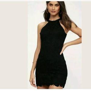NWT Lulu's Love Poem Black Lace Dress Size L.